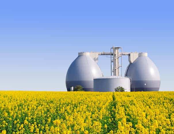 Biogas,Plant,Next,To,A,Yellow,Rape,Field,In,Spring